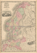 Prussia Scandinavia Antique Map Johnson 1861