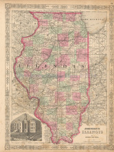 State Of Illinois Antique Map Johnson 1863
