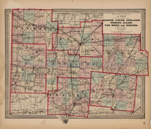 Hardin Logan Shelby County Ohio Antique Map Walling 1868