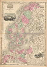 Prussia Scandinavia Antique Map Johnson 1863