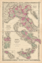 Northern And Southern Italy Antique Map Johnson 1863