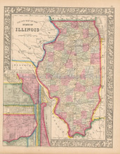 State Of Illinois Antique Map Mitchell 1865