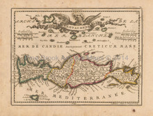 Candia Crete Antique Map Chiquet 1719