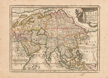 Asian Continent Antique Map Chiquet 1719