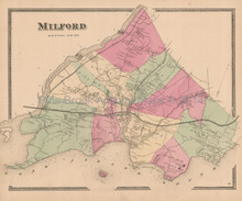 Milford Connecticut Antique Map Beers 1868