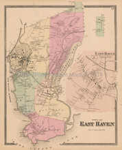 East Haven Connecticut Antique Map Beers 1868