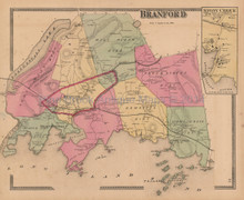 Town Branford Connecticut Antique Map Beers 1868