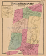 North Branford Connecticut Antique Map Beers 1868