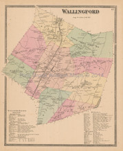 Town Wallingford Connecticut Antique Map Beers 1868
