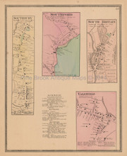 Southbury Southford Connecticut Antique Map Beers 1868