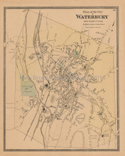 Waterbury Connecticut Antique Map Beers 1868
