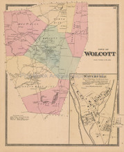 Town Wolcott Connecticut Antique Map Beers 1868