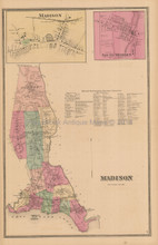 Town Madison Connecticut Antique Map Beers 1868