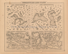 Lakes Islands Antique Map Colton 1858
