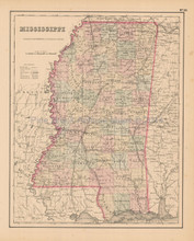 Mississippi State Antique Map Colton 1858