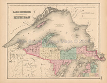 Lake Superior Antique Map Colton 1858