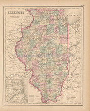 Illinois Antique Map Colton 1858