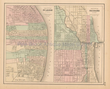 Chicago St. Louis Antique Map Colton 1858