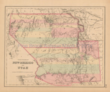 Utah New Mexico Antique Map Colton 1858