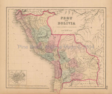 Bolivia Peru Antique Map Colton 1858