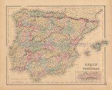 Spain Portugal Iberia Antique Map Colton 1858