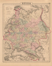 Russia In Europe Antique Map Colton 1858