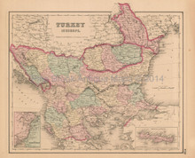 Turkey Balkans Antique Map Colton 1858