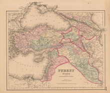 Turkey Middle East Antique Map Colton 1858