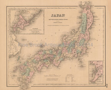 Nippon Japan Antique Map Colton 1858 #2