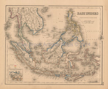 East Indies Antique Map Colton 1858