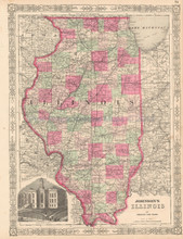 State Of Illinois Antique Map Johnson 1864