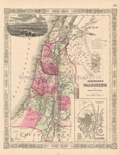 Palestine Israel Holy Lands Antique Map Johnson 1864