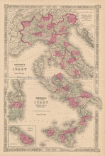 Italy Malta Antique Map Johnson 1864