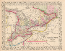 Canada West Ontario Antique Map Mitchell 1867