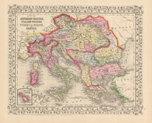 Austria Italy Antique Map Mitchell 1867