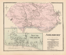 Amesbury Massachusetts Antique Map Beers 1872