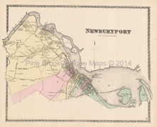 Town Newburyport Massachusetts Antique Map Beers 1872