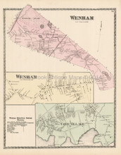 Wenham Cove Village Massachusetts Antique Map Beers 1872