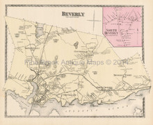 Town Beverly Massachusetts Antique Map Beers 1872