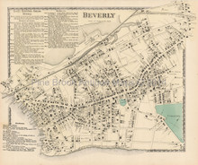 Beverly Massachusetts Antique Map Beers 1872
