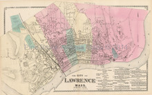 North Lawrence Massachusetts Antique Map Beers 1872