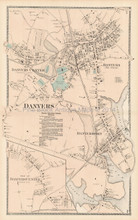 Danvers Massachusetts Antique Map Beers 1872