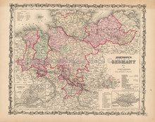 North Germany Antique Map Johnson 1861