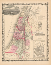 Palestine Holy Lands Antique Map Johnson 1861