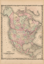 North American Continent Antique Map Johnson 1861
