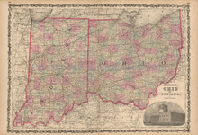 Ohio Indiana Antique Map Johnson 1861
