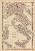 Italy Antique Map Johnson 1861