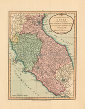 Central Italy Antique Map Laurie & Whittle 1802