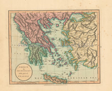 Greece Antique Map Laurie & Whittle 1802