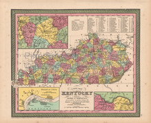 Kentucky Antique Map Cowperthwait 1853